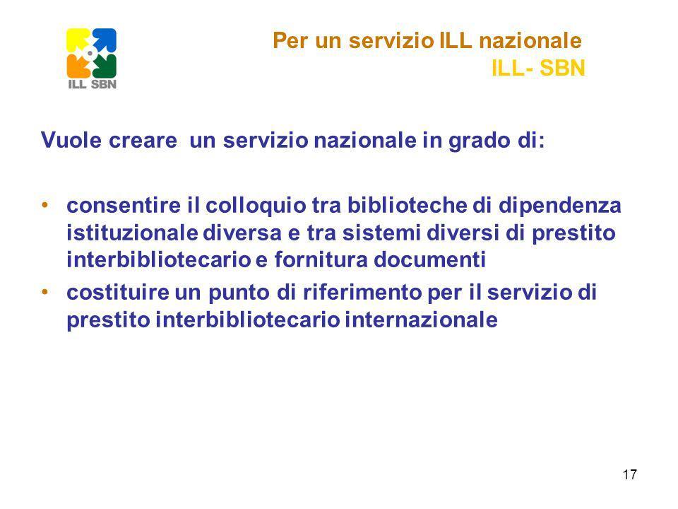 17 Vuole creare un servizio nazionale in grado di: consentire il colloquio tra biblioteche di dipendenza istituzionale diversa e tra sistemi diversi di prestito interbibliotecario e fornitura documenti costituire un punto di riferimento per il servizio di prestito interbibliotecario internazionale Per un servizio ILL nazionale ILL- SBN