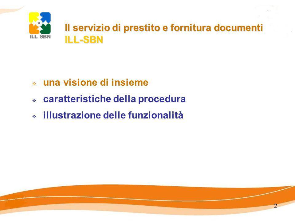 2 Il servizio di prestito e fornitura documenti ILL-SBN Il servizio di prestito e fornitura documenti ILL-SBN una visione di insieme caratteristiche della procedura illustrazione delle funzionalità