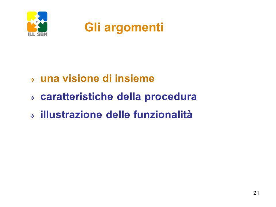 21 Gli argomenti una visione di insieme caratteristiche della procedura illustrazione delle funzionalità