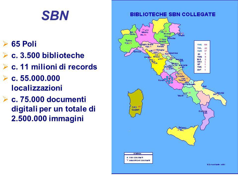 4 65 Poli c. 3.500 biblioteche c. 11 milioni di records c.