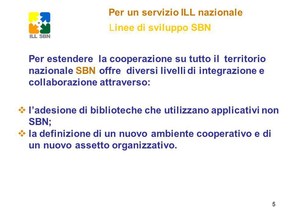 5 Per un servizio ILL nazionale Linee di sviluppo SBN Per estendere la cooperazione su tutto il territorio nazionale SBN offre diversi livelli di integrazione e collaborazione attraverso: ladesione di biblioteche che utilizzano applicativi non SBN; la definizione di un nuovo ambiente cooperativo e di un nuovo assetto organizzativo.