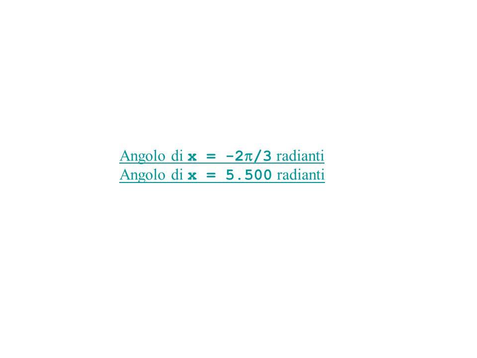 Gli angoli x sono misurati in radianti, positivi in verso antiorario, negativi in verso orario.