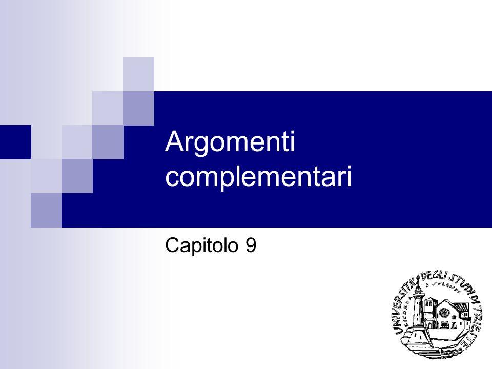 Argomenti complementari Capitolo 9