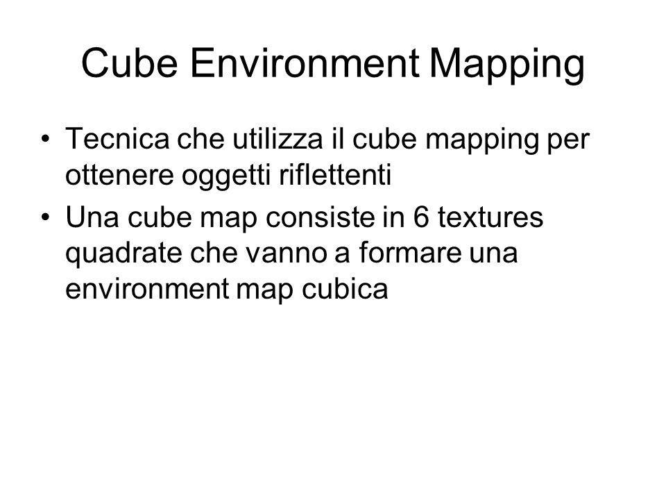 Cube Environment Mapping Tecnica che utilizza il cube mapping per ottenere oggetti riflettenti Una cube map consiste in 6 textures quadrate che vanno a formare una environment map cubica