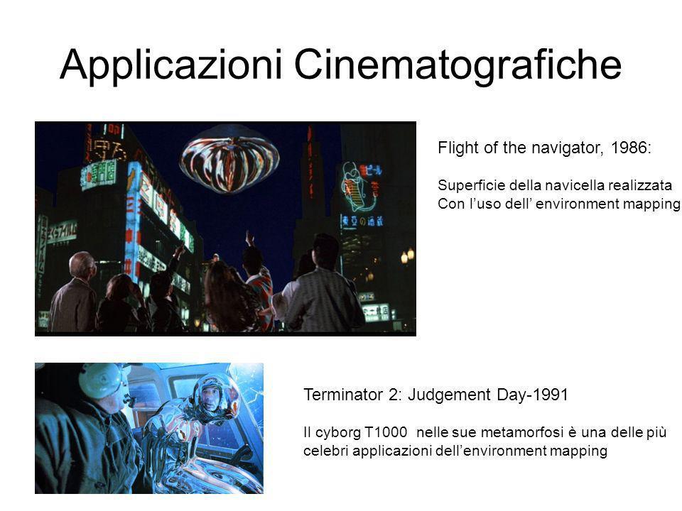 Applicazioni Cinematografiche Flight of the navigator, 1986: Superficie della navicella realizzata Con luso dell environment mapping Terminator 2: Judgement Day-1991 Il cyborg T1000 nelle sue metamorfosi è una delle più celebri applicazioni dellenvironment mapping