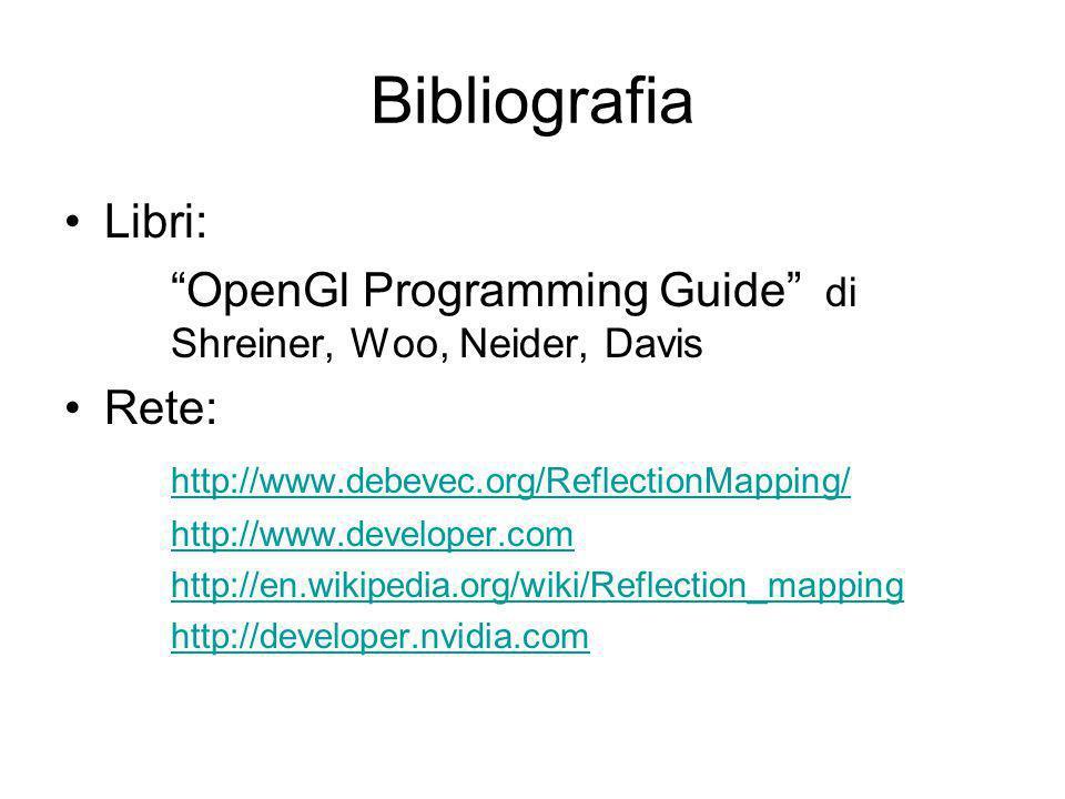 Bibliografia Libri: OpenGl Programming Guide di Shreiner, Woo, Neider, Davis Rete: http://www.debevec.org/ReflectionMapping/ http://www.developer.com http://en.wikipedia.org/wiki/Reflection_mapping http://developer.nvidia.com
