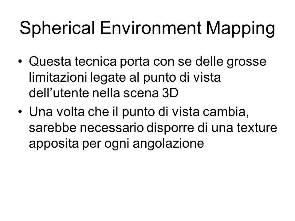 Spherical Environment Mapping Questa tecnica porta con se delle grosse limitazioni legate al punto di vista dellutente nella scena 3D Una volta che il punto di vista cambia, sarebbe necessario disporre di una texture apposita per ogni angolazione