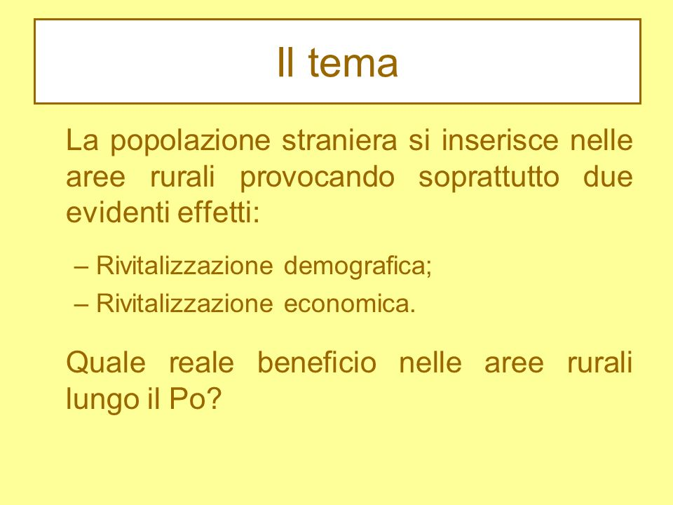 Il tema La popolazione straniera si inserisce nelle aree rurali provocando soprattutto due evidenti effetti: – Rivitalizzazione demografica; – Rivitalizzazione economica.