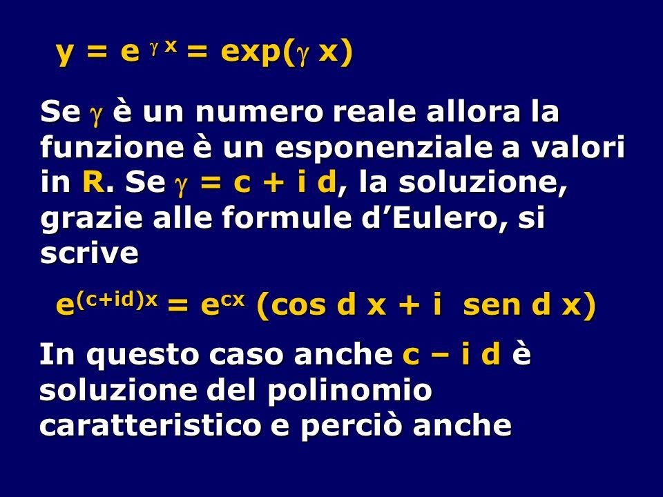 y = e x = exp( x) Se è un numero reale allora la funzione è un esponenziale a valori in R. Se = c + i d, la soluzione, grazie alle formule dEulero, si