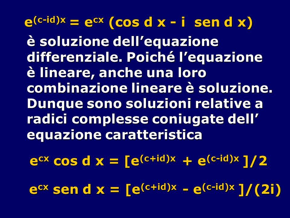 e (c-id)x = e cx (cos d x - i sen d x) è soluzione dellequazione differenziale. Poiché lequazione è lineare, anche una loro combinazione lineare è sol