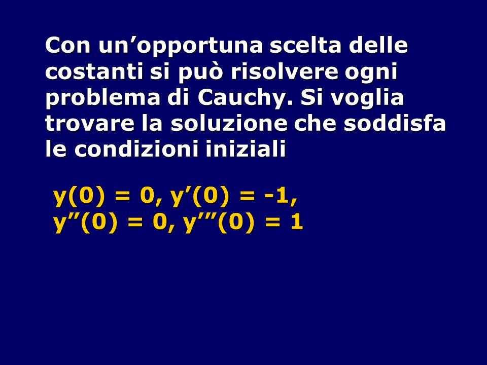 Con unopportuna scelta delle costanti si può risolvere ogni problema di Cauchy. Si voglia trovare la soluzione che soddisfa le condizioni iniziali y(0