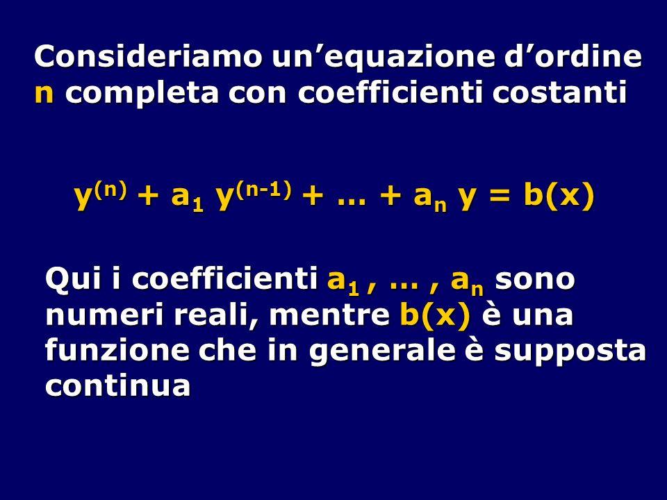Consideriamo unequazione dordine n completa con coefficienti costanti y (n) + a 1 y (n-1) + … + a n y = b(x) Qui i coefficienti a 1, …, a n sono numer