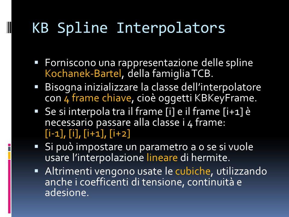 KB Spline Interpolators Forniscono una rappresentazione delle spline Kochanek-Bartel, della famiglia TCB. Bisogna inizializzare la classe dellinterpol