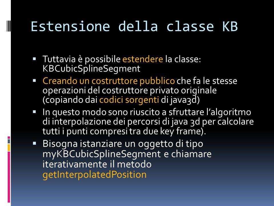 Estensione della classe KB Tuttavia è possibile estendere la classe: KBCubicSplineSegment Creando un costruttore pubblico che fa le stesse operazioni