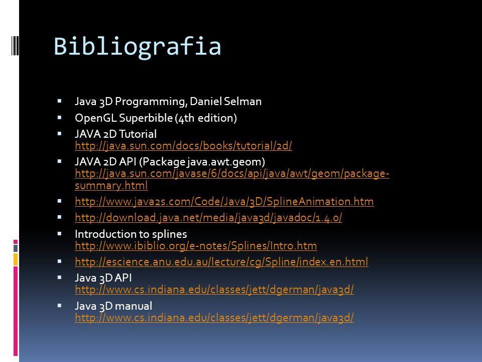Bibliografia Java 3D Programming, Daniel Selman OpenGL Superbible (4th edition) JAVA 2D Tutorial http://java.sun.com/docs/books/tutorial/2d/ http://ja