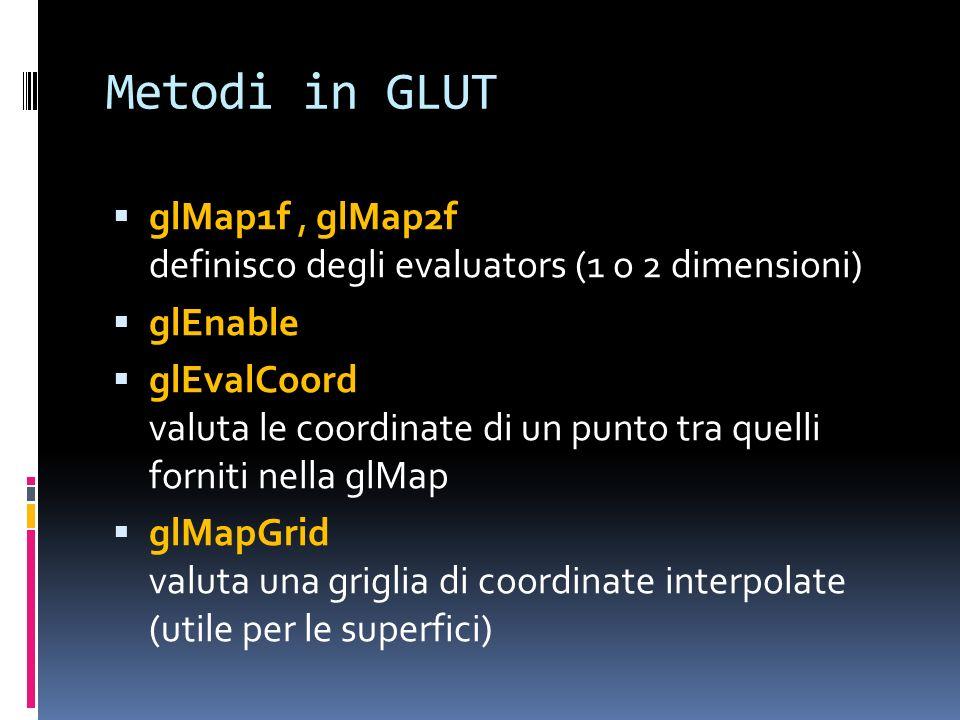 Metodi in GLUT glMap1f, glMap2f definisco degli evaluators (1 o 2 dimensioni) glEnable glEvalCoord valuta le coordinate di un punto tra quelli forniti