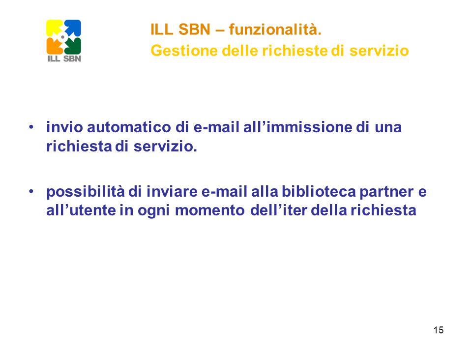 15 invio automatico di e-mail allimmissione di una richiesta di servizio. possibilità di inviare e-mail alla biblioteca partner e allutente in ogni mo