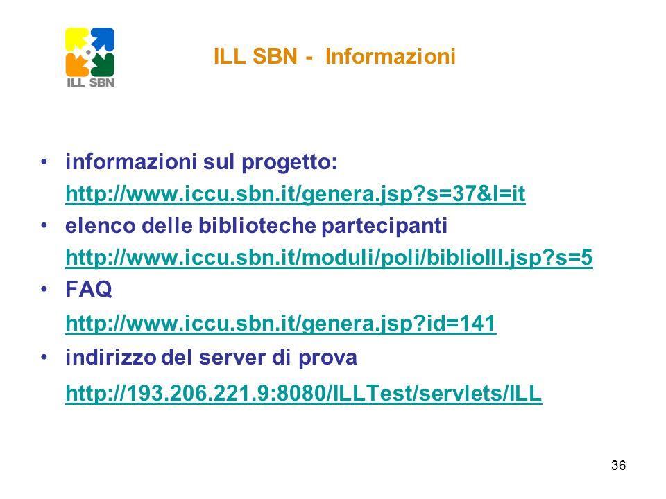 36 informazioni sul progetto: http://www.iccu.sbn.it/genera.jsp?s=37&l=it elenco delle biblioteche partecipanti http://www.iccu.sbn.it/moduli/poli/bib