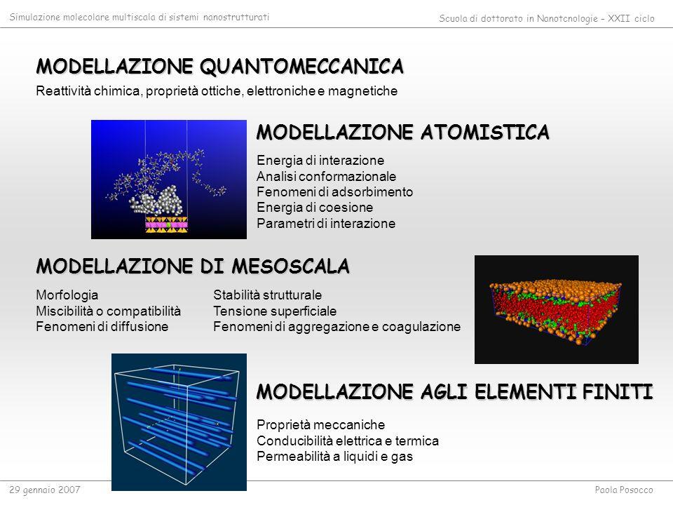 OBIETTIVI Applicazione dellapproccio multiscala a sistemi nanostrutturati di natura differente 1.Sviluppo di un modello virtuale per la rappresentazione di sistemi compositi nanostrutturati sia a livello atomistico che di mesoscala, come agli elementi finiti 2.Correlazione tra le proprietà delle nanoparticelle (natura, dimensioni, composizione, forma e frazione volumetrica) o dei nanocanali e le proprietà macroscopiche finali 3.Elaborazione di una procedura multiscala che risponda al target desiderato SCIENZA DEI MATERIALISCIENZE FARMACEUTICHE E BIOLOGICHE Simulazione molecolare multiscala di sistemi nanostrutturati Scuola di dottorato in Nanotcnologie – XXII ciclo 29 gennaio 2007Paola Posocco