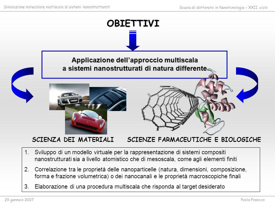 OBIETTIVI Applicazione dellapproccio multiscala a sistemi nanostrutturati di natura differente 1.Sviluppo di un modello virtuale per la rappresentazio