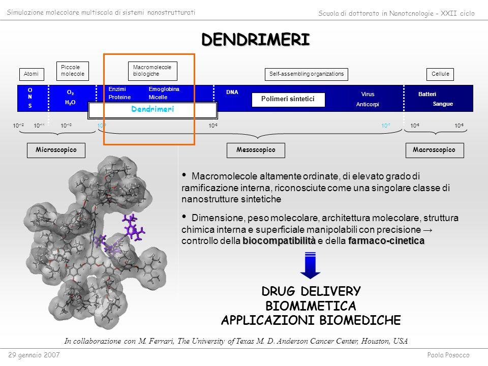 DENDRIMERI Atomi Piccole molecole Macromolecole biologiche Self-assembling organizationsCellule 10 -5 10 -6 10 -7 10 -8 10 -9 10 -10 10 -11 10 -12 O2H