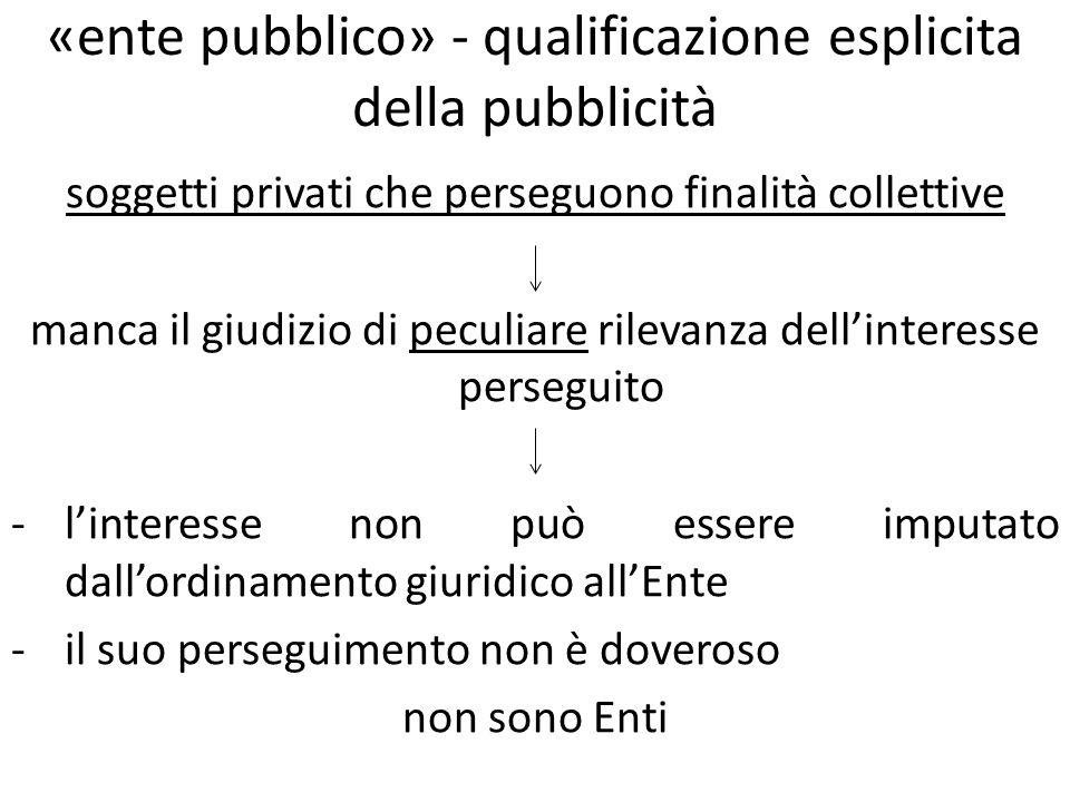 «ente pubblico» - qualificazione esplicita della pubblicità soggetti privati che perseguono finalità collettive manca il giudizio di peculiare rilevan