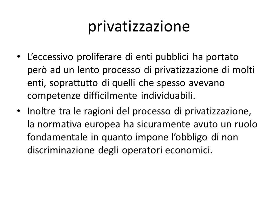 privatizzazione Leccessivo proliferare di enti pubblici ha portato però ad un lento processo di privatizzazione di molti enti, soprattutto di quelli c