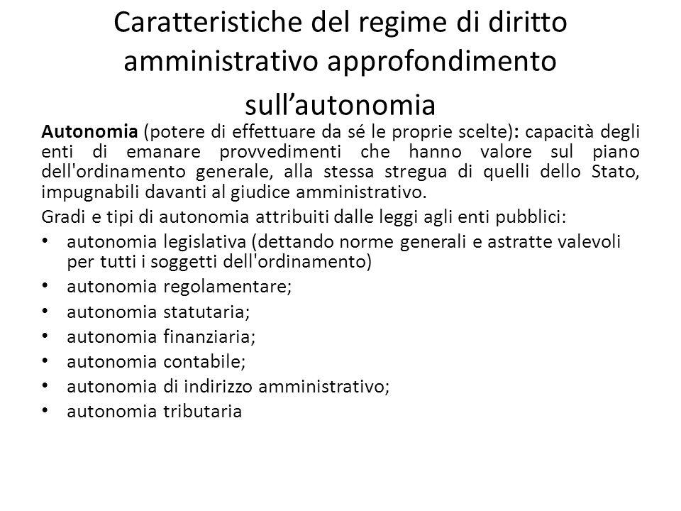 Caratteristiche del regime di diritto amministrativo approfondimento sullautonomia Autonomia (potere di effettuare da sé le proprie scelte): capacità