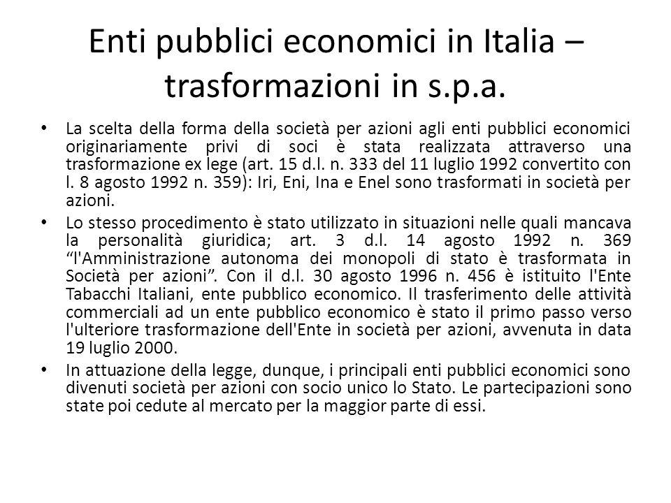 Enti pubblici economici in Italia – trasformazioni in s.p.a. La scelta della forma della società per azioni agli enti pubblici economici originariamen