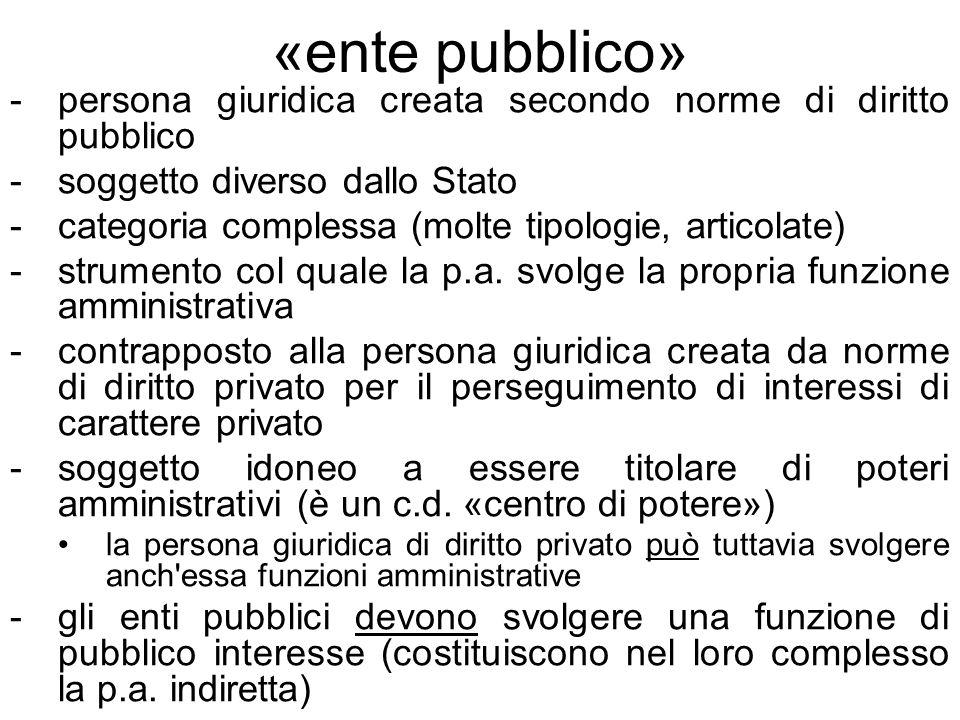 Tipologie di ente pubblico in Italia Corporazioni o EP associativi: persone giuridiche che si basano sull associazione di più persone (hanno quale elemento costitutivo un insieme di persone fisiche o giuridiche – associati, legate dal perseguimento di uno scopo comune Istituzioni o EP istituzionali: soggetti nei quali prevale l elemento patrimoniale (istituti previdenziali) Enti pubblici territoriali (il territorio è un elemento essenziale affinché l ente esista come tale) Enti pubblici non territoriali (l elemento territoriale non è discriminante e operano solo limitatamente a determinati aspetti: INPS, che opera per tutta l Italia ma ha competenza per la previdenza sociale, Agenzia delle Entrate, che ha competenza per l imposizione fiscale) Enti pubblici nazionali (svolgono le proprie competenze su tutto il territorio nazionale, oppure su un territorio limitato ma ai fini di un interesse nazionale) Enti pubblici locali (svolgono le proprie competenze in una limitata circoscrizione territoriale con fini limitati a carattere locale) Enti pubblici economici, che hanno come oggetto principale dellattività la produzione di beni e servizi attraverso il metodo economico, basato su costi e ricavi, contrapposti agli Enti pubblici non economici Enti strumentali: perseguono un fine esclusivo di un altro ente da cui ricevono ordini e direttive (es.