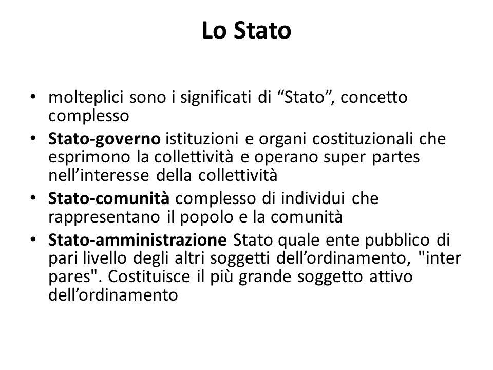 Lo Stato molteplici sono i significati di Stato, concetto complesso Stato-governo istituzioni e organi costituzionali che esprimono la collettività e