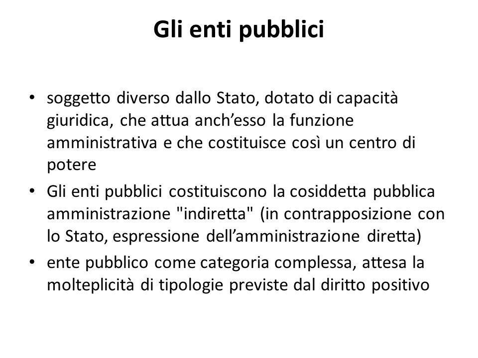 Gli enti pubblici soggetto diverso dallo Stato, dotato di capacità giuridica, che attua anchesso la funzione amministrativa e che costituisce così un