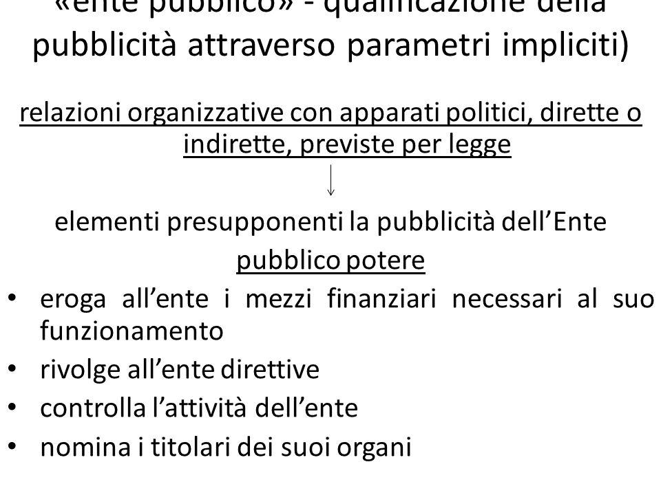 «ente pubblico» - qualificazione della pubblicità attraverso parametri impliciti) relazioni organizzative con apparati politici, dirette o indirette,