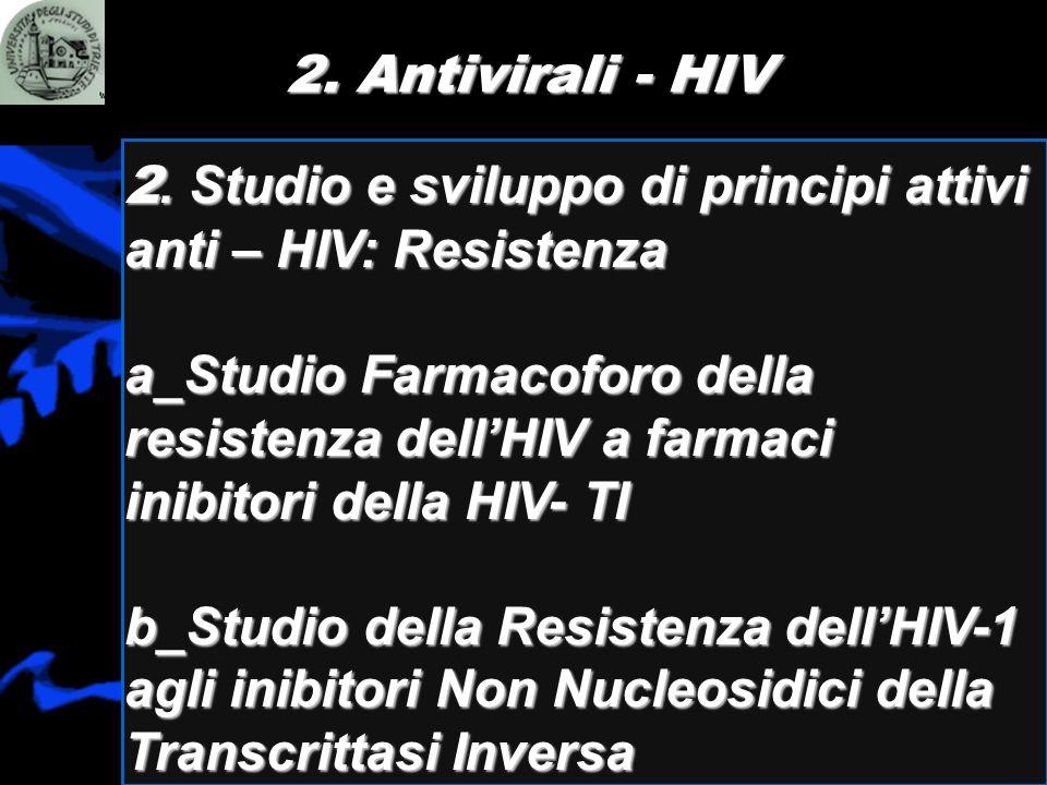 2. Antivirali - HIV 2. Studio e sviluppo di principi attivi anti – HIV: Resistenza a_Studio Farmacoforo della resistenza dellHIV a farmaci inibitori d