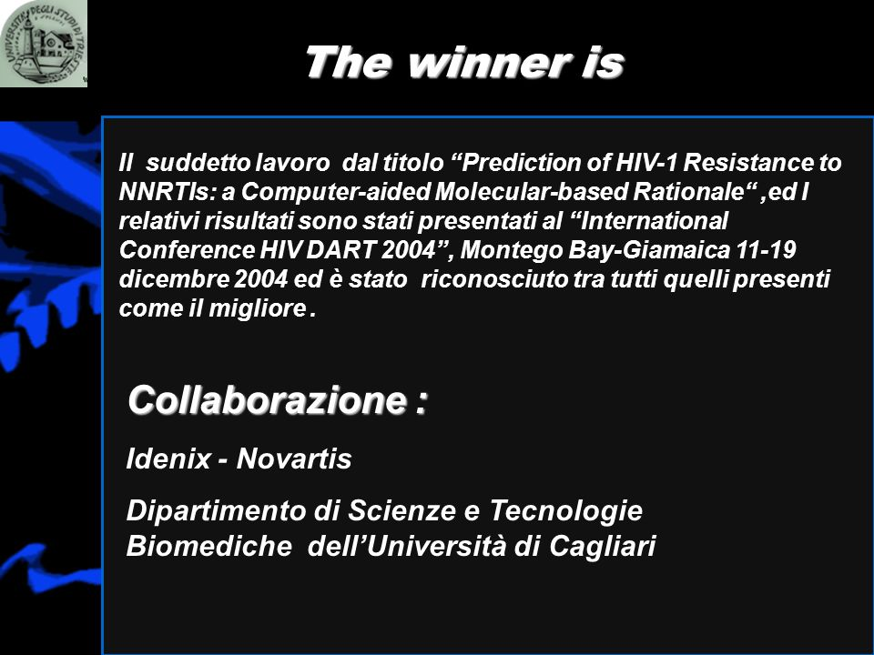 The winner is Il suddetto lavoro dal titolo Prediction of HIV-1 Resistance to NNRTIs: a Computer-aided Molecular-based Rationale,ed I relativi risulta