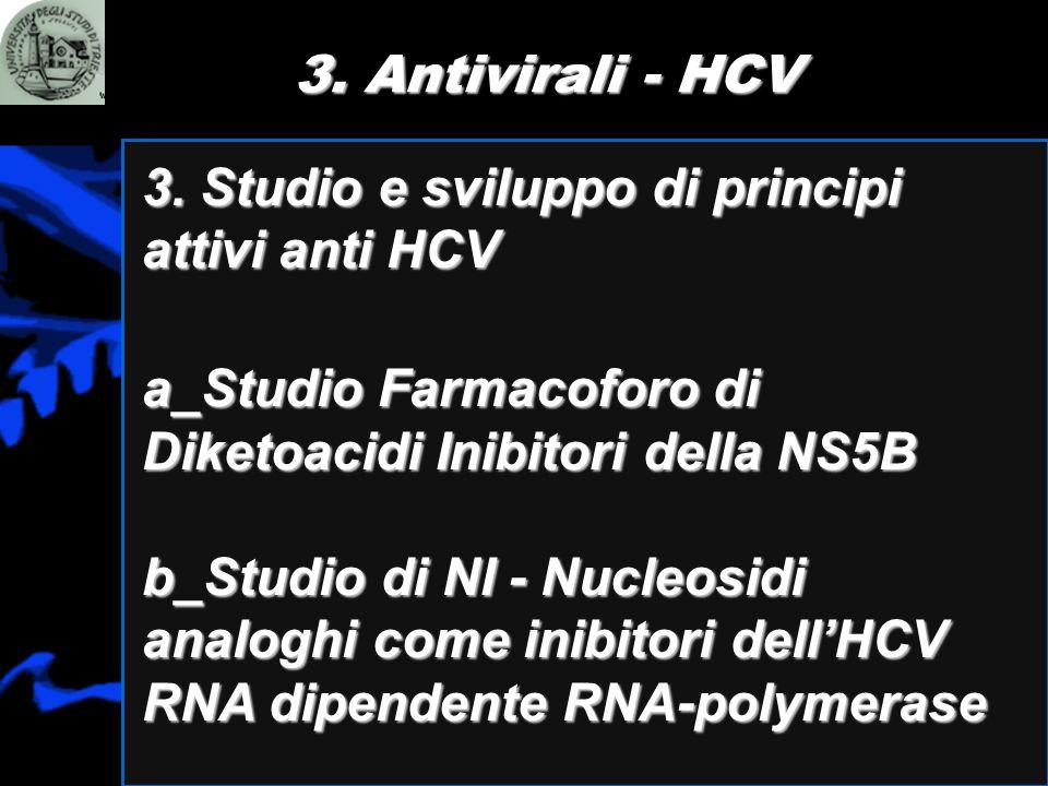 3. Antivirali - HCV 3. Studio e sviluppo di principi attivi anti HCV a_Studio Farmacoforo di Diketoacidi Inibitori della NS5B b_Studio di NI - Nucleos