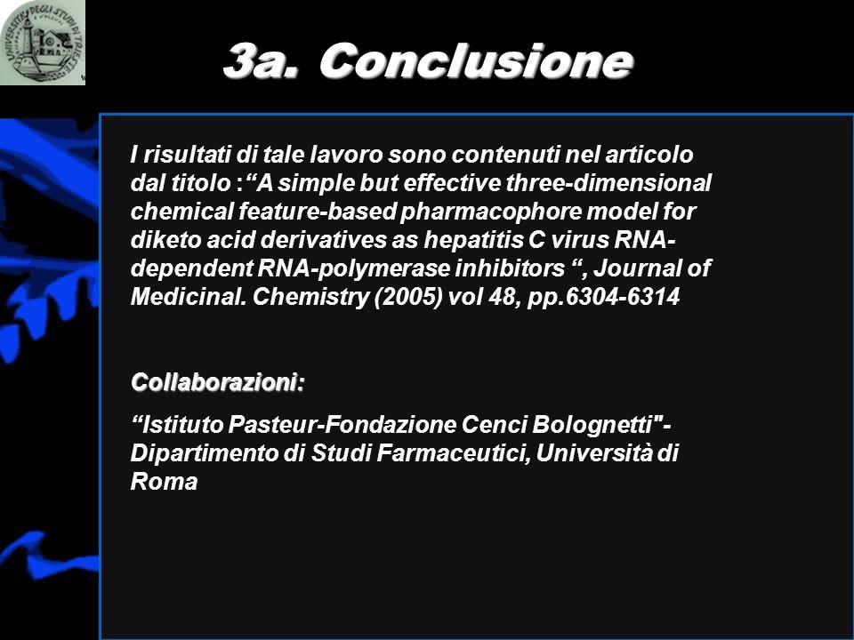 3a. Conclusione I risultati di tale lavoro sono contenuti nel articolo dal titolo :A simple but effective three-dimensional chemical feature-based pha