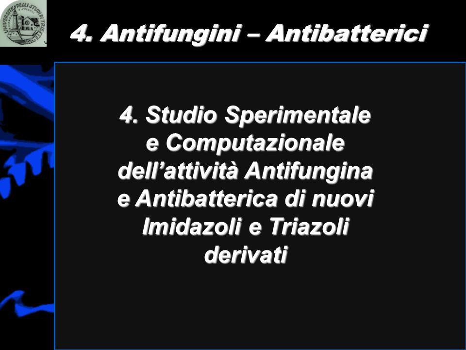 4. Antifungini – Antibatterici 4. Studio Sperimentale e Computazionale dellattività Antifungina e Antibatterica di nuovi Imidazoli e Triazoli derivati