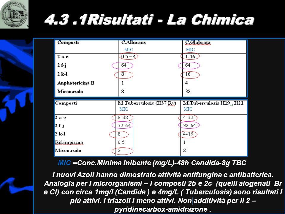 4.3.1Risultati - La Chimica I nuovi Azoli hanno dimostrato attività antifungina e antibatterica. Analogia per I microrganismi – I composti 2b e 2c (qu