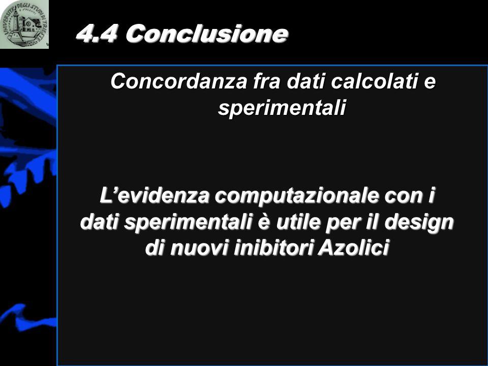 Concordanza fra dati calcolati e sperimentali 4.4 Conclusione Levidenza computazionale con i dati sperimentali è utile per il design di nuovi inibitor