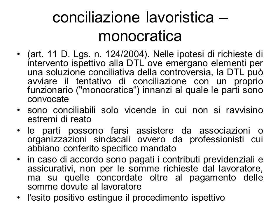 conciliazione lavoristica – monocratica (art. 11 D. Lgs. n. 124/2004). Nelle ipotesi di richieste di intervento ispettivo alla DTL ove emergano elemen