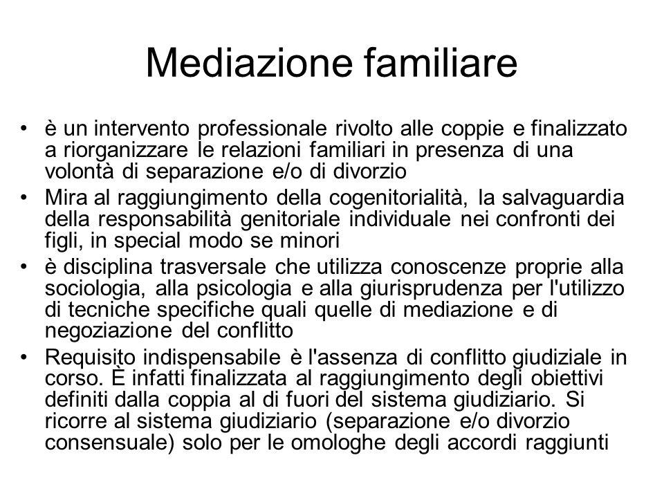 Mediazione familiare è un intervento professionale rivolto alle coppie e finalizzato a riorganizzare le relazioni familiari in presenza di una volontà