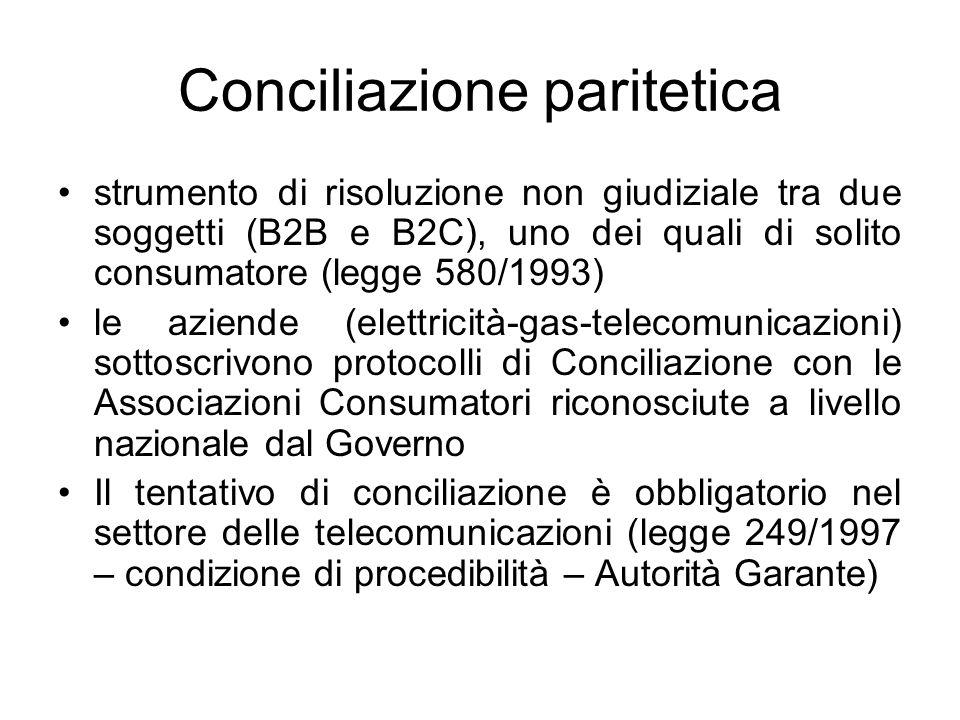 Conciliazione paritetica strumento di risoluzione non giudiziale tra due soggetti (B2B e B2C), uno dei quali di solito consumatore (legge 580/1993) le