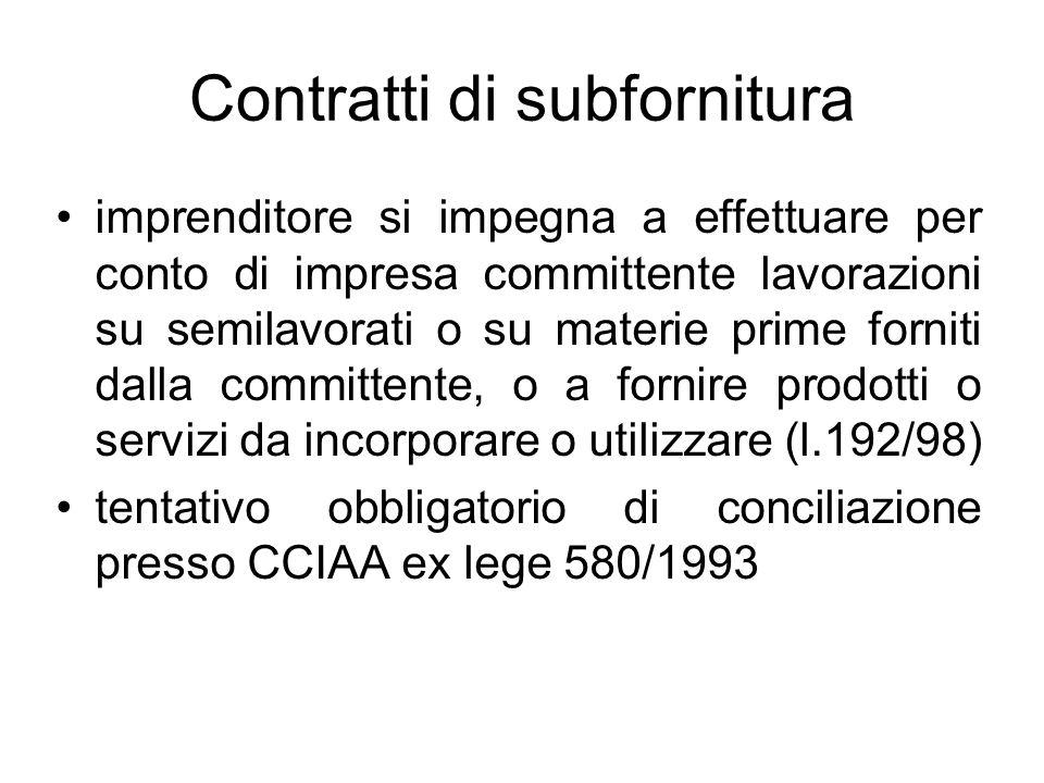 Contratti di subfornitura imprenditore si impegna a effettuare per conto di impresa committente lavorazioni su semilavorati o su materie prime forniti
