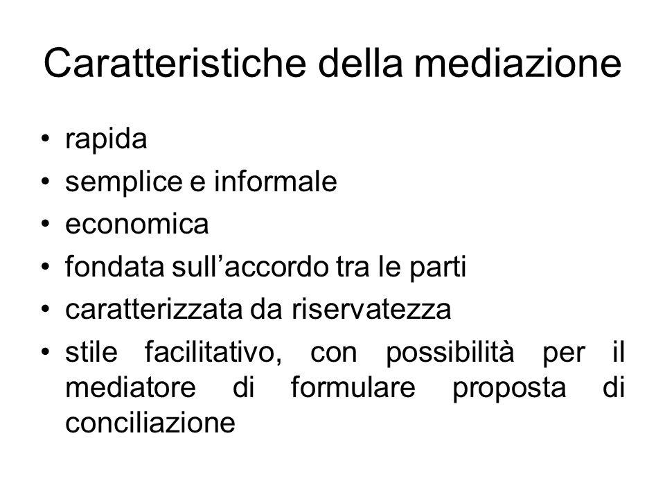 Caratteristiche della mediazione rapida semplice e informale economica fondata sullaccordo tra le parti caratterizzata da riservatezza stile facilitat