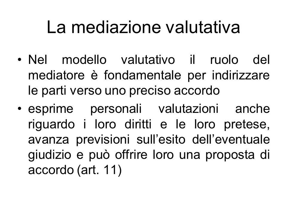 La mediazione valutativa Nel modello valutativo il ruolo del mediatore è fondamentale per indirizzare le parti verso uno preciso accordo esprime perso
