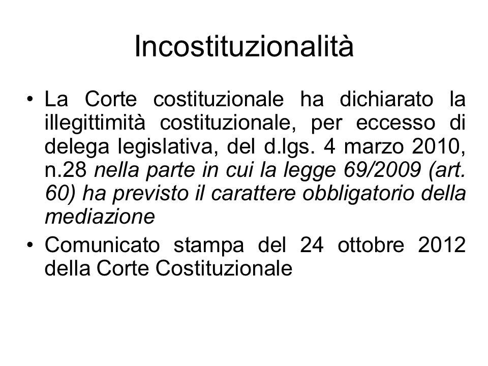Incostituzionalità La Corte costituzionale ha dichiarato la illegittimità costituzionale, per eccesso di delega legislativa, del d.lgs. 4 marzo 2010,
