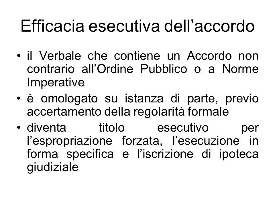 Efficacia esecutiva dellaccordo il Verbale che contiene un Accordo non contrario allOrdine Pubblico o a Norme Imperative è omologato su istanza di par