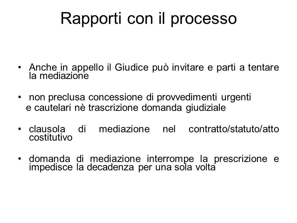 Rapporti con il processo Anche in appello il Giudice può invitare e parti a tentare la mediazione non preclusa concessione di provvedimenti urgenti e