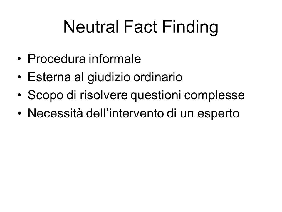 Neutral Fact Finding Procedura informale Esterna al giudizio ordinario Scopo di risolvere questioni complesse Necessità dellintervento di un esperto